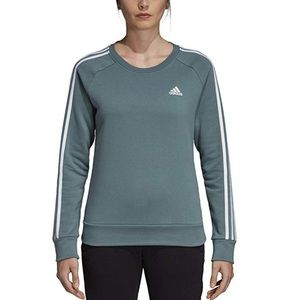 adidas Cotton Fleece 3 Stripe Crew Sweatshirt